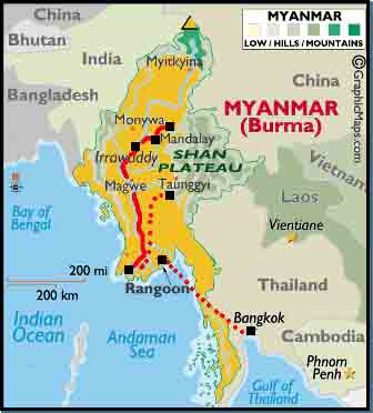 ... (Rangoon), Mandalay, Pyin U Lwin, Irrawaddy River, Bagan, Inle Lake