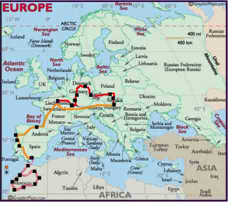 Map Of Europe And Morocco Papegaaienparadijs
